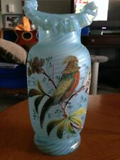 Antique Blue Opaline Glass Ruffled Vase - Applied glass bird and floral