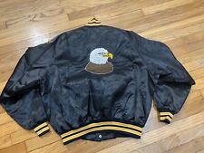 1970s Satin Varsity Jacket Size XXL Black Eagle Vintage