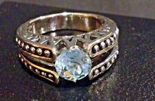 Art Deco Sterling Silver Ring with Topaz round solitaire Stone  Size 7 NIB