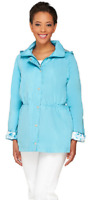 Dennis Basso Water Resistant Anorak Jacket with Detachable Hood, Blue, S , $61