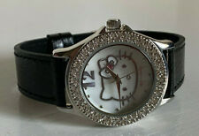 SANRIO HELLO KITTY MOTHER OF PEARL RHINESTONES DIAL BLACK LEATHER STRAP WATCH