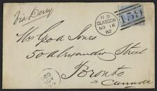 UK GB SCOTLAND 1882 SG 157 GLASCOW NEAT CANCEL ON COVER TO CANADA