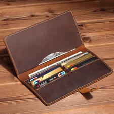 Handmade Men's Long Wallet Crazy Horse Leather Cowhide Vintage Card Holder