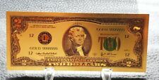 Collectable 24K Gold Plated two Dollars High Quality Souvenir banknote