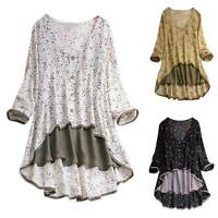 Women Floral Long Sleeve V Neck Blouse Casual Loose Tunic Shirt  Tops Plus Size