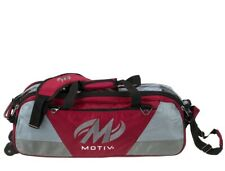 Motiv 3 Ball Tote Bowling Bag with tow wheels Color Red