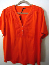CATHY DANIELS WOMENS CROCHET 100% COTTON KNIT TOP ORANGE NEW SIZE 3X Mothers Day
