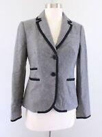 J Crew Heather Gray Black Boiled Wool Blend Boutonniere Blazer Suit Jacket Sz 2