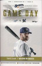 TRAVIS SHAW ON COVER MILWAUKEE BREWERS 2018 OFFICIAL GAMEDAY PROGRAM ISSUE #16