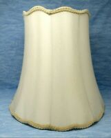 Vintage Lampshade Silk Bell Scalloped Edge Ivory large 16x16x11 CLEAN lamp shade