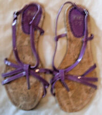 F& F, Purple, patent, flat summer sandals. size 6. Worn once