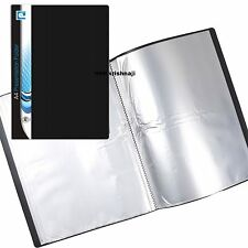 A4 Document Certificate Display Folder 20 Plastic Transparent Pockets Black -P