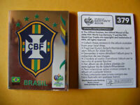 PANINI WORLD CUP GERMANY 2006, RARE BRAZIL EMBLEM BADGE #379 ONLY MADE IN BRAZIL