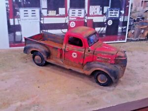"""1:24 Scale""""Custom TEXACO Rusted BARN Find"""" Red '41 Plymouth Pickup Service Truck"""