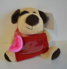 """Love Tan PUPPY GIFT CARD Holder 6"""" Plush PINK HEART Valentine Sweetest BOW NEW"""