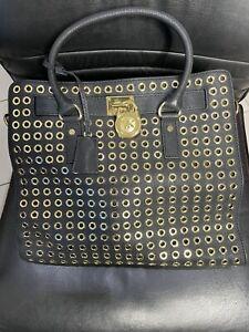 Michael Kors Black Leather Black & Gold Bag Cross Body Tote