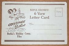 More details for butlins filey - sepia glossy 6 view letter card original vintage postcards 1950s