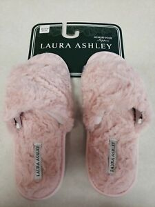 Laura Ashley Womens Memory Foam Slippers Pink Slip On Size Small 6.5-7.5
