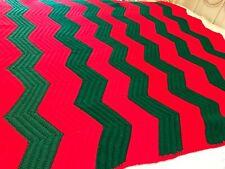 "Vintage Crochet Afghan Ripple Chevron Christmas Red & Green Handmade 48""x64"" AF2"