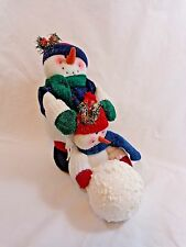 """Plush Snowman Figurine 10"""" Adult and Child with Large Snowball Foam"""