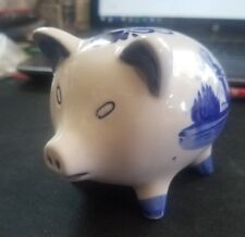 Vintage Handpainted Delft Blue Piggy Bank Holland EH NO stopper