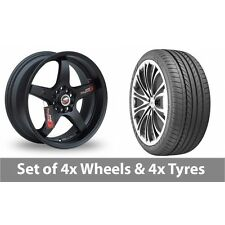 "4 x 16"" Samurai D1-R Black Alloy Wheel Rims and Tyres -  225/50/16"
