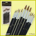 12 Piece Artist Paint Brush Set Quality Art Craft Beginner Expert Various Tips