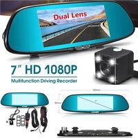 7'' 1080P 170° Dual Lens Car Dash Cam DVR Rearview Mirror Video Camera Recorder