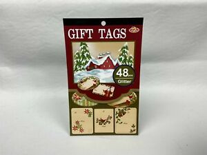 Christmas Glitter Gift Tags - 48 pieces