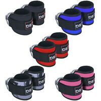 ANKLE D RING STRAPS Thigh Leg Pulley Lifting Padded Cable Attachment Gym