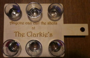 Personalised Shot Glass Carrying paddle - Engraved Bar Item with your message