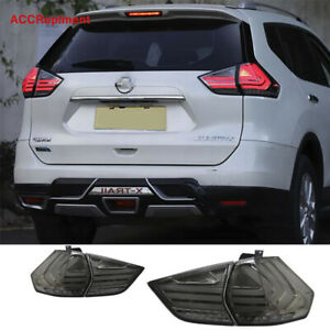 For Nissan Rogue Tail Lights Assembly 2014-2019 Smoke Color All LED Rear Lamps