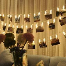 10/20/40 LED Photo Peg Clip LED Fairy String Light Wedding Hanging Picture Decor