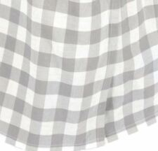 Gray and White Queen Gathered Cotton Bed Skirt Split Corners Annie Buffalo Check