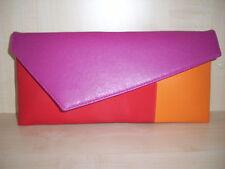 Color Manzana, Naranja, Rosa Fucsia Y Rojo Bolsa De Embrague, imitación de gamuza, totalmente forrado.