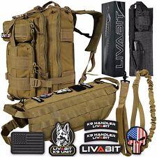 LIVABIT K9 Vest Harness Combo Backpack Dog Paracord Knife Patch Leash TAN MD