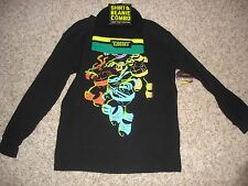 NWT TMNT Teenage Mutant Ninja Turtles thermal shirt & hat/cap set boys XS 4/5