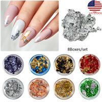 Glitter Foil Chips Acrylic Sequins Manicure Color Flakes 8X Nail Art  Tips Decor