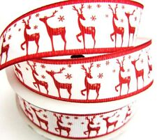 "10 yards Red Reindeer Grosgrain 7/8"" Christmas Holiday Ribbon/Winter/Gift RYC-4"