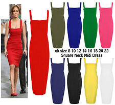 New Womens Wide Strap Square Neck Midi Dress Ladies Party Jersey Pencil Bodycon