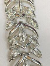 """Vintage Coro pegasus Wide  bracelet Silver Open Leaf Design Link Bracelet 7 1/4"""""""