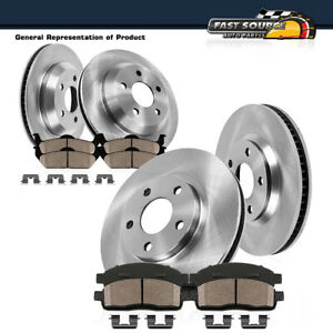 For 2003 2004 2005- 2011 Lincoln Town Car Front+Rear Brake Rotors + Ceramic Pads
