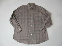 Peter Millar Button Up Shirt Adult Extra Large Brown Orange Plaid Casual Mens