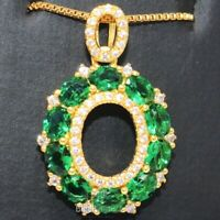 "1CT Green Oval Emerald Halo Pendant 18"" Chain Necklace 14K Yellow Gold Plated"