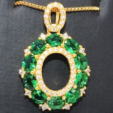 """1CT Green Oval Emerald Halo Pendant 18"""" Chain Necklace 14K Yellow Gold Plated"""