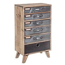 Cassettiera 6 cassetti appoggio Officina in legno di pino inserti ferro e zinco