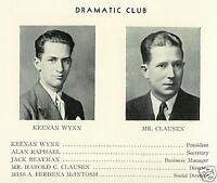 KEENAN WYNN High School Yearbook Senior Year 1934
