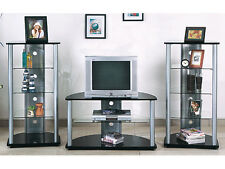 Concise Style Tri-Star Glass& Black Finish Wood Entertament Center Set(3Pc)-Asdi
