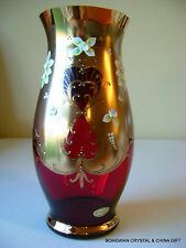 CZECH BOHEMIAN MADESK GOLD HIGH ENAMEL GARNET RED CRYSTAL GLASS VASE 9.75""