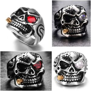Gold Smoking Pipe Biker Men's Rings Rock Punk Skull Ring 2019 Men Jewelry